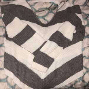 Back-Tie striped sweater